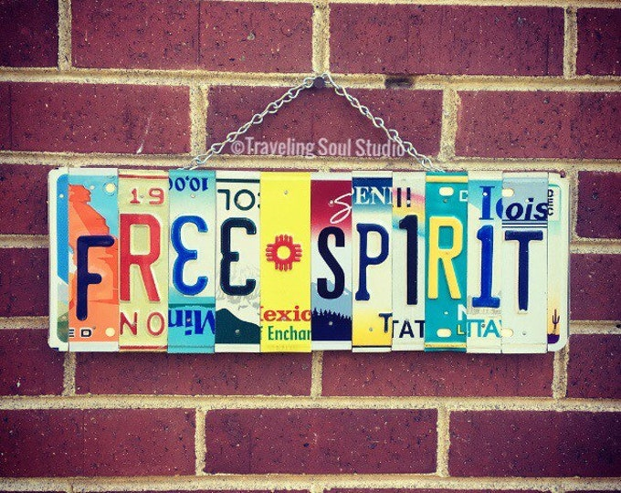 Bohemian Decor, License Plate Art, Free Spirit Sign, Christmas Gift Idea, Boho Wall Hanging, Recycled Gifts, For Teens