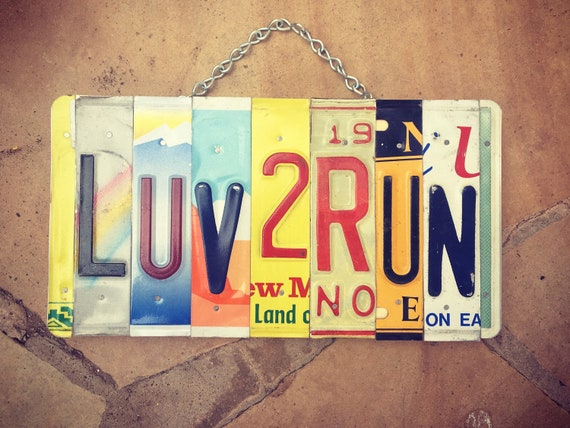 Runners Gift License Plate LUV 2 RUN License Plate Art Sign, Gift for Runners, Runners Sign, License Plate Art, Marathon Gift, Run Sign