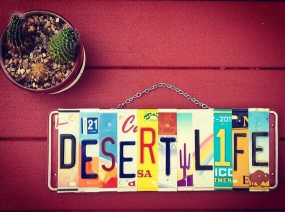 Desert Art, Desert Decor, Desert Signs, Cactus Art, Travel Gifts, License Plate Sign, Home Decor, Gift for the Home, Patio Art