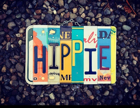 Hippie Dorm Room Decor, Hippie License Plate Sign, Boho Wall Decor, Van Life, Gifts for Hippies, Boho Wall Art, License Plate, Rv Decor.