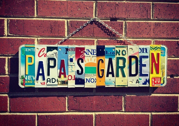 Gift for Grandpa, Fathers Day Gift, Grandpa's Fathers Day Gift, Gift for Papa, Papa Gifts, Garden Sign, License Plate Sign