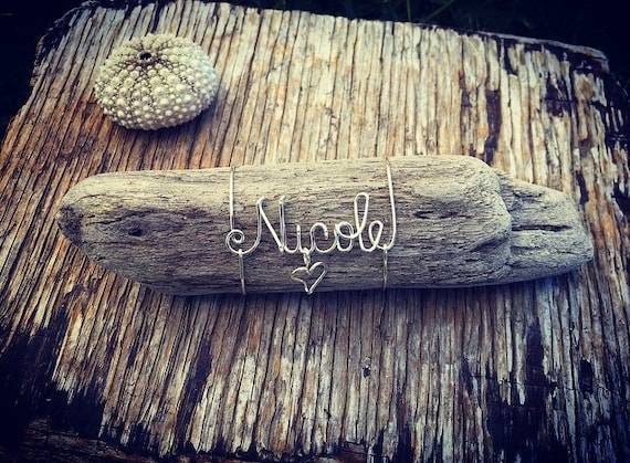 Personalized Name Made in Hawaii Beach Driftwood Gifts, Personalized Beach Decor, Gift for Her, Beach themed Decor, Wire Name, Driftwood Art