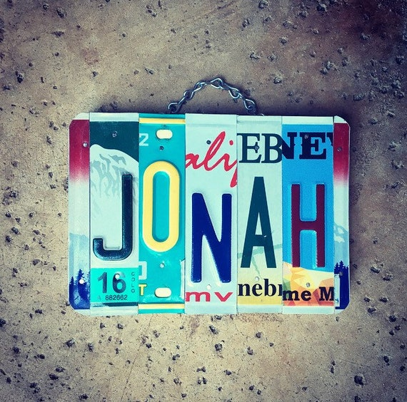Boys Name Sign, Jonah, Boys Gift, Gift for Boys, License Plate Art, Christmas Gift Idea, Baby Shower Gift, Personalized Gift.