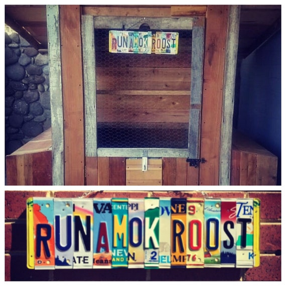 License Plate Chicken Coop Barn Sign, Chicken Decor, License Plate Art, Chicken Coop Wall Hanging, Farmstyle Recycled Sign, Garden Art