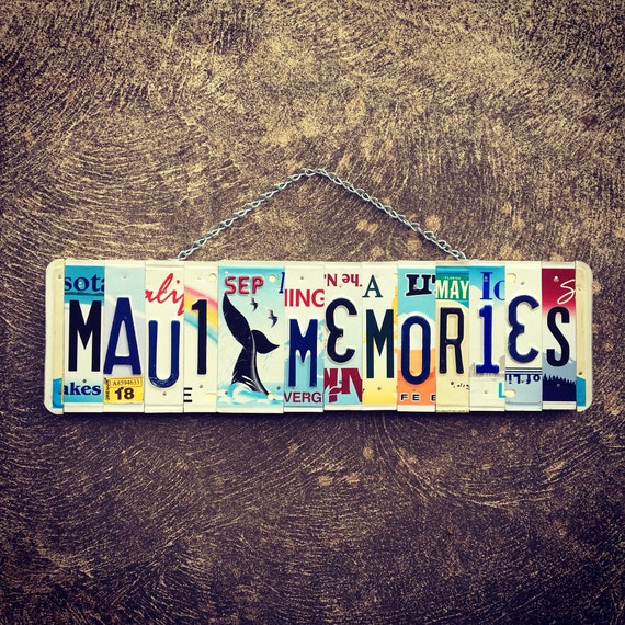 Made in Maui, Maui Art, Whale Sign, Maui Souvenir, License Plate Art, Christmas Gift Idea, Beach Decor, Gift for Her, Housewarming Gift.