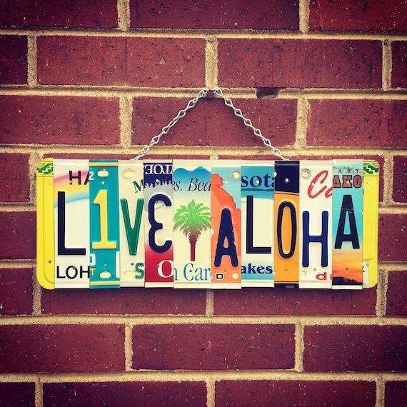 Live Aloha Sign, Aloha Sign, Palm Tree Decor, License Plate Art, Gift for Mom, Beach Gift, Palm Tree Wall Art, Beach House Decor, Hawaii Art