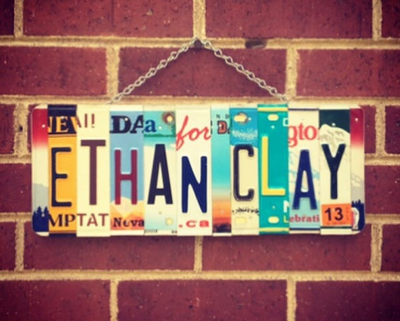 Boys License Plate Name Sign, Gifts for Men, Boys Room, Dorm Room Decor, Personalized Gifts, Custom Names, License Plate Art