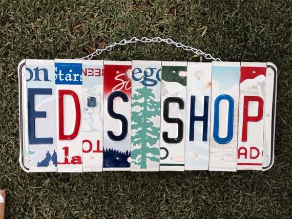 Dad's Shop License Plate Sign / Metal Garage Sign / Garage License Plate Sign / Man Cave / Garage Wall Sign