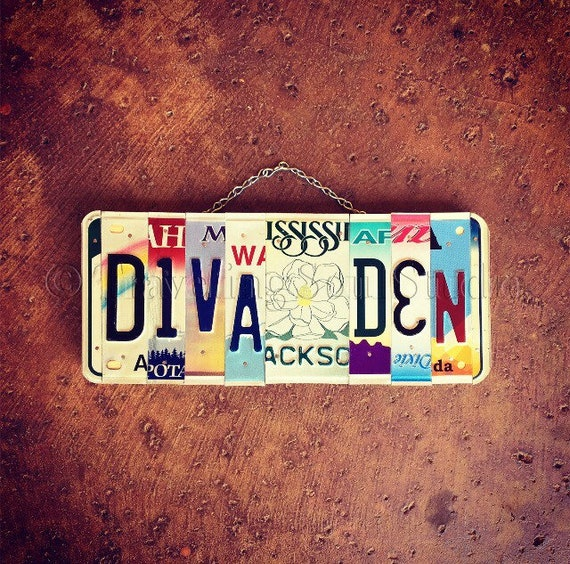 Girls Diva License Plate Sign, Diva Den Sign, Gift for Girl, Girls Only Sign, Girls Room Decor.