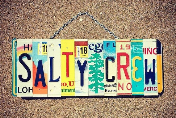 Salty Crew Fishing License Plate Art Sign, License Plates, Salty, Gift for Fisherman, Fishing Gift Idea, Gift for Men, Fishing Sign