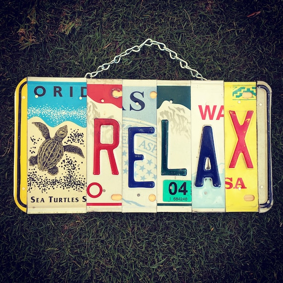 Relax Meditation License Plate Sign, Relaxation Gifts, Relax Sign, License Plate Art, License Plate Sign, Yoga Art, Turtle, Made in Hawaii.