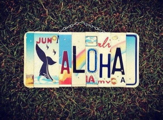 Tropical Hawaiian Aloha Whale License Plate Art Sign Made in Hawaii, Beach Decor, Whale Art, Hawaii License Plate, Aloha Sign, Beach Art