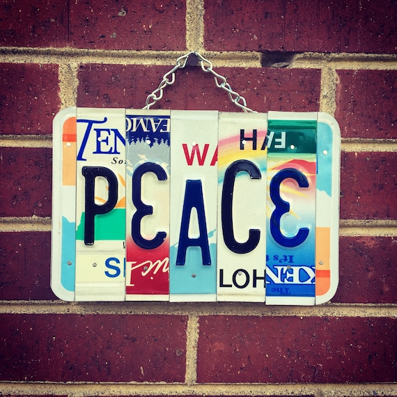 Recycled License Plate PEACE Sign - License Plate Sign - Boho Decor - Hippie Decor - Gift Idea - Birthday Gift - Dorm Room Decor