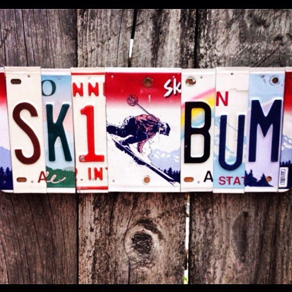 SKI BUM License Plate Sign. skier -skier gift -ski lodge art - for him -ski bum - license plate art