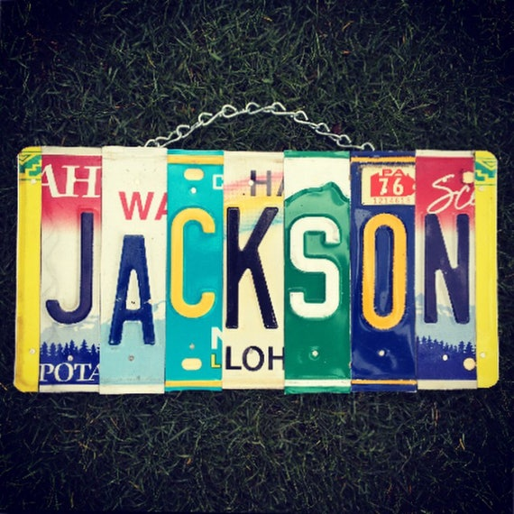 Family Name License Plate Sign. Ohana- family- Personalized sign- custom sign- boys name sign- boys room decor. Car themed decor.