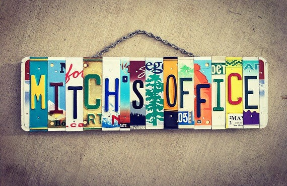 Office Decor, Personalized Office Gift, License Plate Name Sign, Office Wall Art, Travel Decor, Office Gifts, Office Sign, Custom Name Sign.