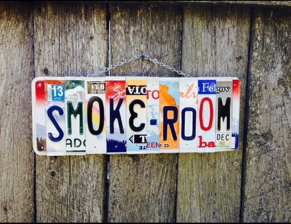 SMOKE-ROOM Sign. No Smoking sign. No smoking. Smoke room sign. Garage sign.