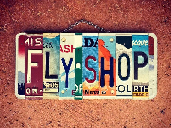 Fly Shop Fly Fishing License Plate Art Sign, Fishing Decor, Fishing Gift Ideas, Birthday Gift for Dad, Fly Fishing Sign, Gift for Fisherman