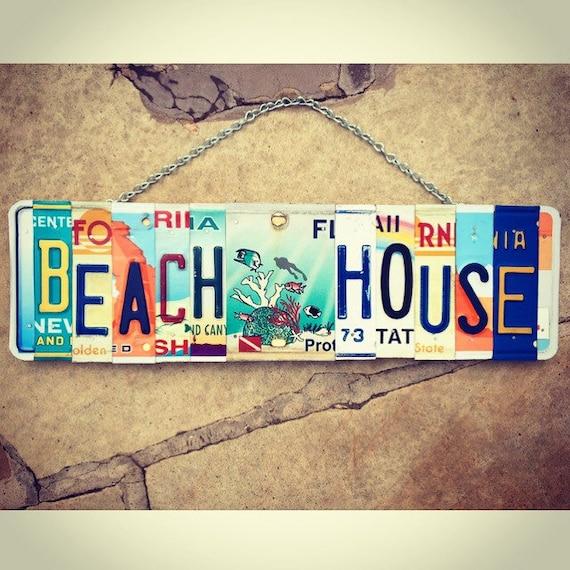 Beach House Gift, Beach House Art, Reef Wall Decor, License Plate Art, Gift for Mom, Beach House Signs, Beach House Art.