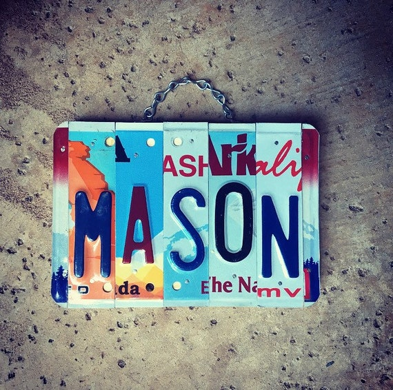 Personalized Name, Boys Gift, Christmas Gifts for Boys, Stocking Stuffers, License Plate Sign, Mason, Custom Gift.