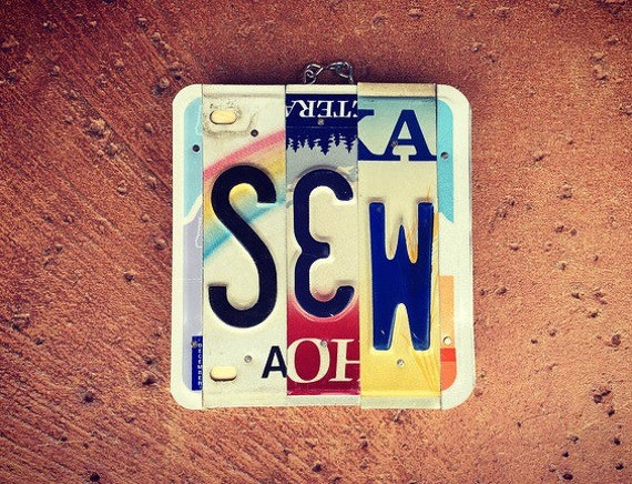 Sewing Gifts for Mom, License Plate Art, Sewing Sign, Sewing Room Decor, Mothers Day Gift, Sewing Gifts for the House