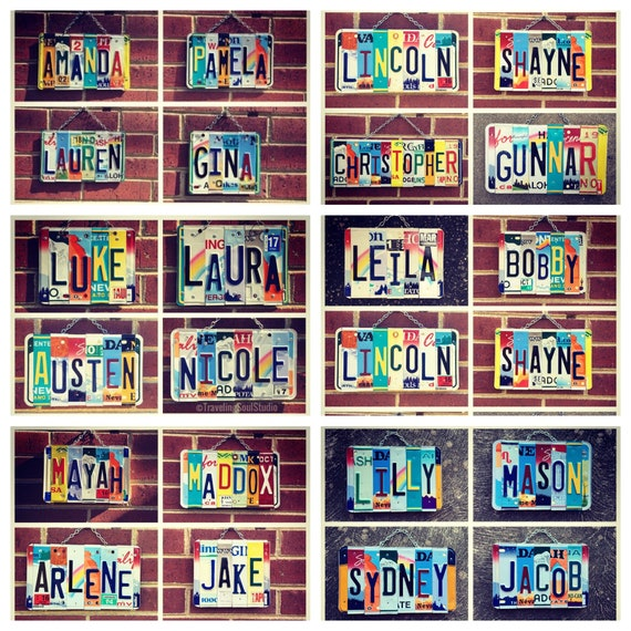 Name Sign, Gifts for Kids, Childrens Gifts, Dorm Room Decor, Personalized Gifts, Custom Names, License Plate Art, Unique Christmas Gift