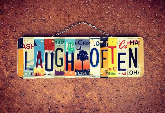 Laugh Often Recycled License Plate Sign, Laugh Signs, License Plate Art, Positive Quotes Sign, Palm Tree Decor, Birthday Gift Idea.