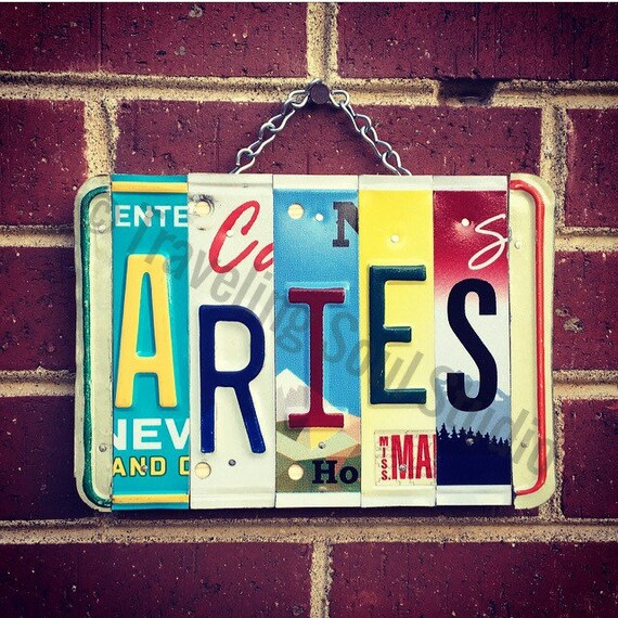 Aries Zodiac License Plate Art Sign, Zodiac Sign, Gift for Aries, Astrological Sign Decor, Aries Zodiac Art, Gift April Birthday, Aries Sign