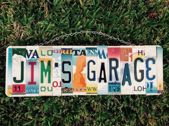 Fathers Day Gift, Garage Gift, Custom Sign for Dad's Garage, License Plate Garage Decor, Chevy Car Collector Gift - Quality Aluminum Sign