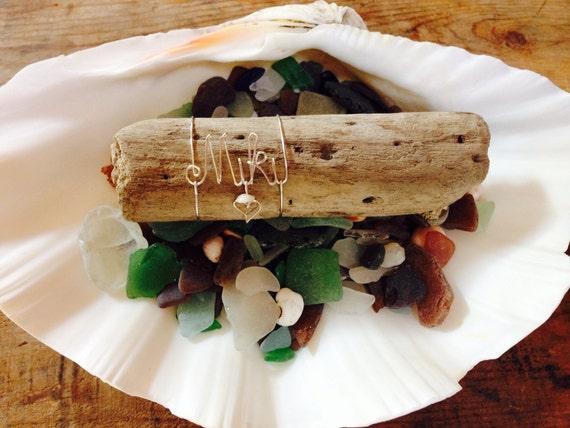 Wire name. Wedding. Seaglass. Driftwood. Maui. Hawaii. Handmade. Giftidea. Personalized. Girls. Beach decor. Sea. Wire.
