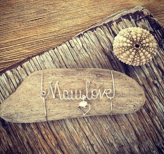 Maui Love Inspirational Wire Art Word Driftwood Beach Gift Idea, Beach Decor Under 25, Driftwood Pieces, Wire Word Art, Hawaii Gifts