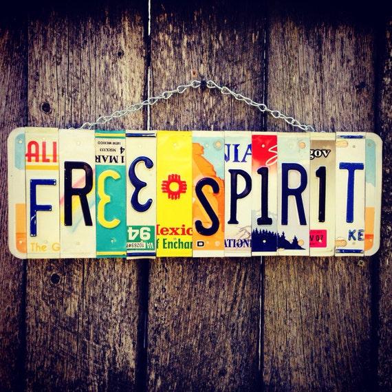 FREE SPIRIT License Plate Sign, Bohemian Decor, Birthday Gift for her, Hippie Decor, Girls Room Decor.
