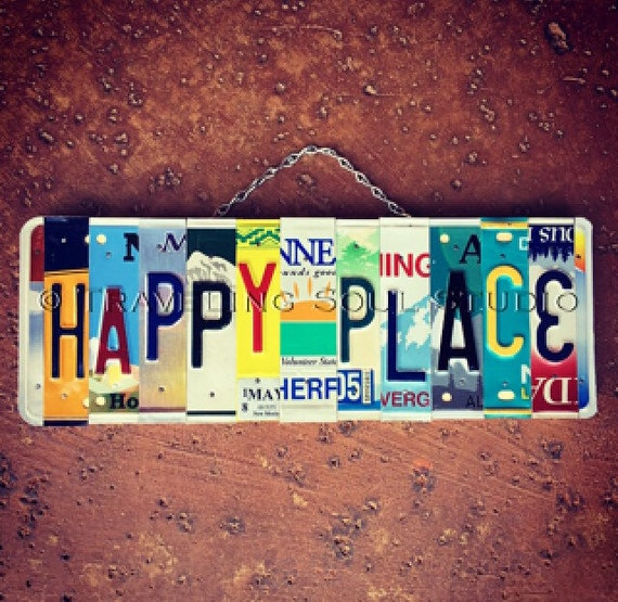 Happy Place License Plate Sign, Colorful My Happy Place Wall Hanging, Made in Hawaii, Beach Home Decor, Travel Gifts, Recycled Number Plates