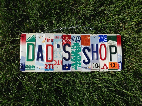 Dad. Father .Garage. Father's day. Shop. License plate. Sign. Car. Beer. Giftidea. Man. Mancave. Room