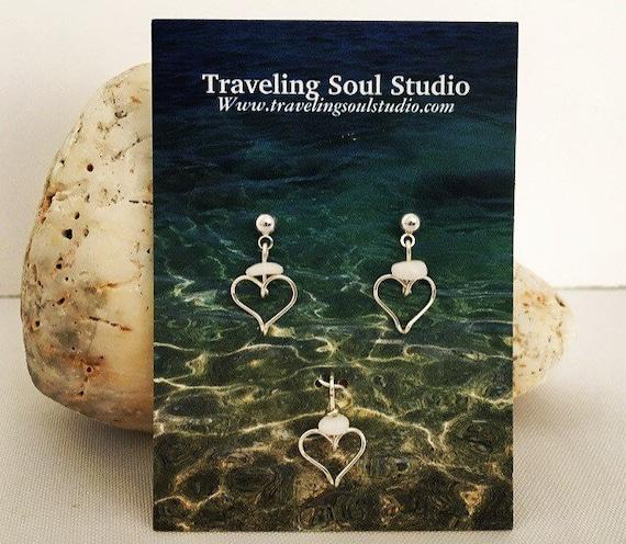 Hawaiian Jewelry, Puka Shell Jewelry, Heart Earrings, Beach Jewelry, Shell Pendant, Jewelry Gift Set, Gifts under 20, Made in Hawaii
