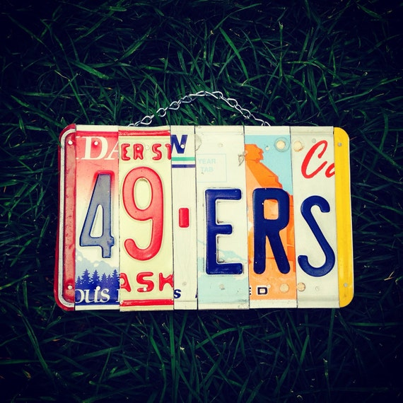 Football. Mancave. Sports. License plate. Team. Gift idea. Forhim. Custom. Handmade. Garage sign. Dad. Brother. 49ers. San fransisco. Ca.