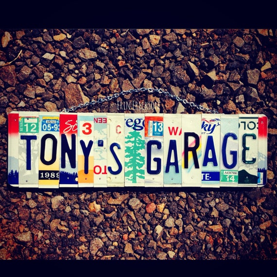 Personalized License Plate Art - Valentines Day Gift - Gift for Him - Dads Garage Art- Mancave Decor- Car Guy Gift - For Dad