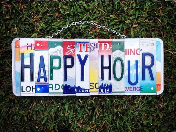 Happy Hour License Plate Art Bar Sign, Happy Hour Sign, Bar Sign, Wine Bar Decor, Recycled License Plates, Fun Gift Idea, Gift for Drinkers