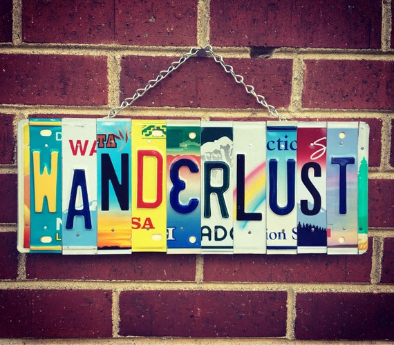 WANDERLUST License Plate Sign - Hippie Room Decor - Boho - Hippie Decor - Road Trip Art - Gift for Traveller - Birthday Gift - Travel Art