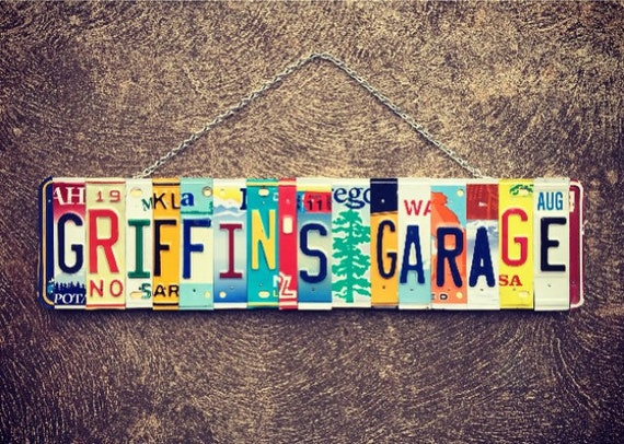 Garage Sign. Mens Gift. Gift for Husband. Garage Art. Mechanics Gift. Personalized Gift. Fathers Day. License Plate Art.