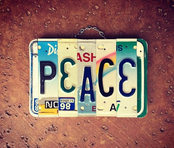 Bohemian Peace License Plate Sign, Peace Sign, Boho Wall Decor, License Plate Art, License Plate Signs, Hippie Decor, Birthday Gift Idea