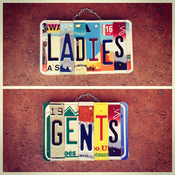 His and Hers Bathroom License Plate Sign, His and Hers Sign, License Plate Art, Ladies Sign, Business Restroom Signage, Business Sign.
