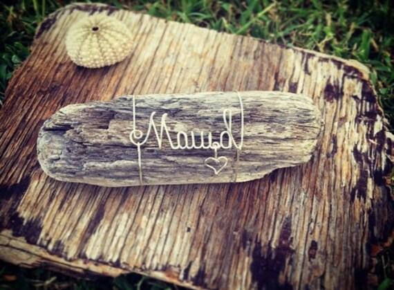 Maui'd Wire Driftwood Maui Beach Wedding Souvenir, Wire Name, Driftwood Art, Just Mauid, Beach Decor, Beach Gift For Bride, Made in Hawaii