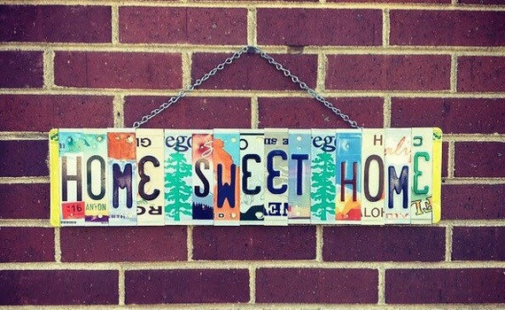 Home Sweet Home License Plate Sign, House Warming Gift, Home Decor, License Plate Art, Gift for Home Buyers, Moving Gift Idea, Upcycled Art