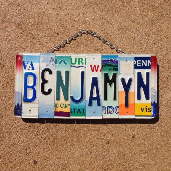 Boys. Name. Room decor. Sign. Handmade. Baby boy. Red. Christmas. Den. Boys. Kids room. Unique. License plate. Art