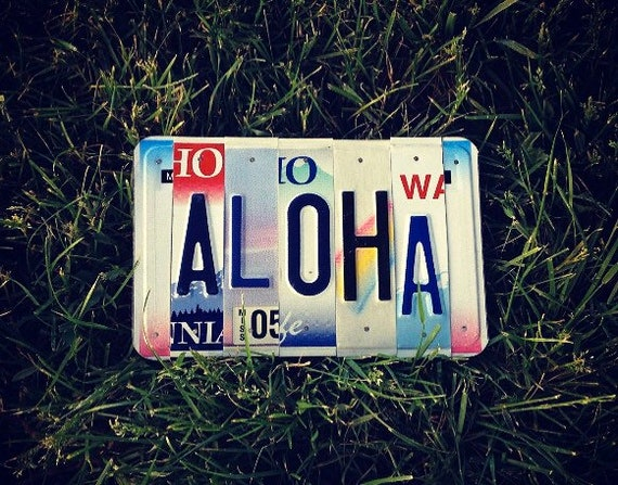 Tropical Aloha Hawaii License Plate Sign Art, Aloha Sign, Made in Hawaii, Aloha Art, Beach Decor, Beach House Decor, Gifts For Friends, Art