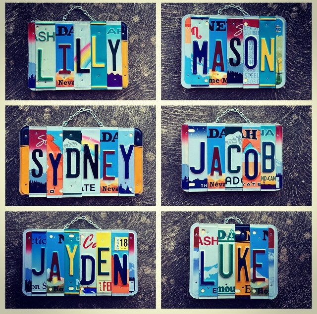 Personalized Name Custom Sign Kids Birthday Gift Room Decor Employee Baby Nursery License Plate Idea