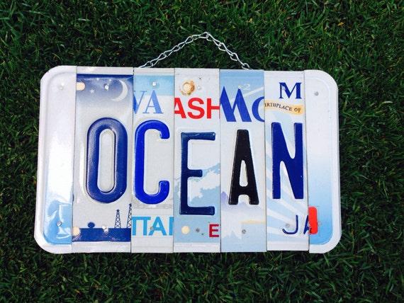 Ocean. Christmas. License plate sign. Room decor.
