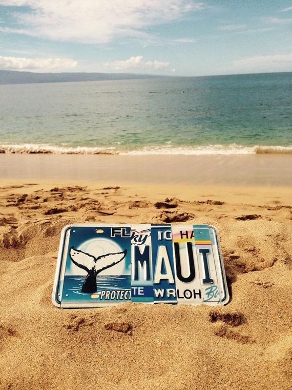 One of a kind. License plate. Whale. Maui. Hawaii. Beach. Ocean. Travel. Giftidea. Rare. Collectable. Sea life. Custom name.