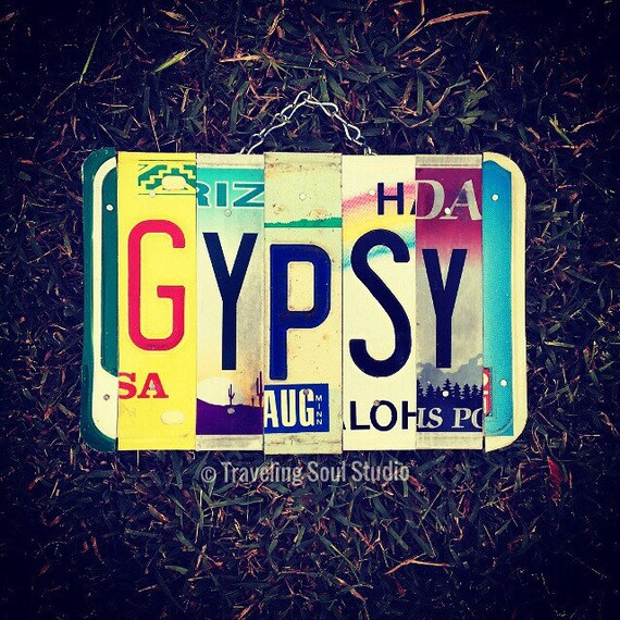 Hippie Decor, Gypsy Sign, License Plate Art, Bohemian Gifts, Travel Art, Birthday Gift for Girl, Recycled, Made in Hawaii, Boho, Wanderlust